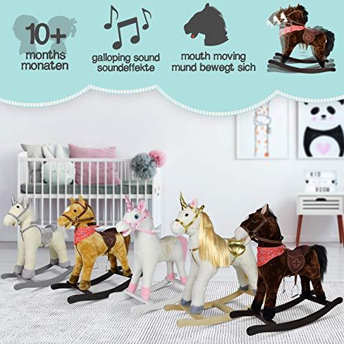Infantastic® Schaukelpferd - ab 1 Jahr, mit Soundeffekten, Kuschelweich, Holz, Plüsch, für Kinder, Designwahl - Schaukeltier, Schaukelspielzeug (Silbernes Einhorn)