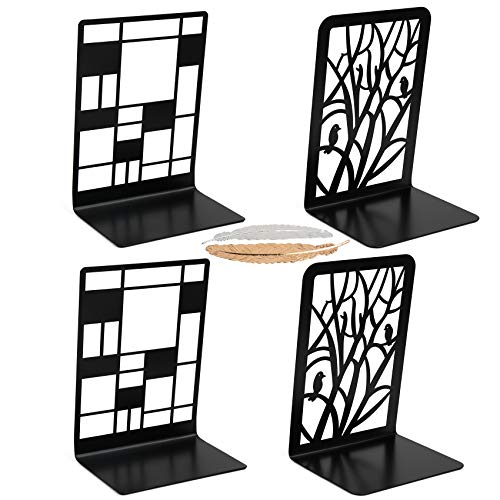 Uarzt Metal Bookends for Heavy Books, Book Ends Supports for Shelves, 2 Pairs Decorative Book Holders, Non-Slip Book Stoppers Book Racks with 2 Feather Bookmarks, Book Stands for Office Home (A)