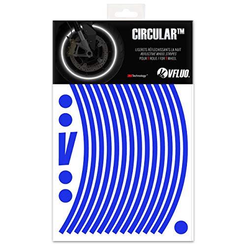 VFLUO CIRCULAR, Kit strisce adesivi rifrangenti/riflettenti per cerchioni Moto (1 ruota), 3M Technology, Larghezza : 7 mm, Blu