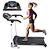 AW Folding Electric Treadmill Portable Running Walking Treadmill with LCD Display Easy Assembly for Home Exercise White