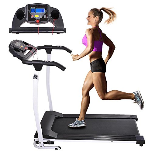 AW 1100W Folding Electric Treadmill Portable Power Motorized Machine Running Jogging Gym Exercise Fitness White Treadmills
