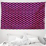 ABAKUHAUS Hot Pink Wandteppich & Tagesdecke, Vichy-Karos Vibrant, aus Weiches Mikrofaser Stoff Wand Dekoration Für Schlafzimmer, 230 x 140 cm, Magenta Schwarz