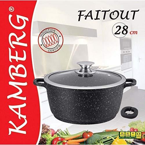 Kamberg - 0008033 - Faitout 28 cm - Fonte d'Aluminium - Revêtement type pierre - Couvercle en verre - Tous feux dont induction - Sans PFOA