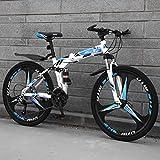 ZEIYUQI Todoterreno Plegable Bicicletas 26 Pulgadas Doble Freno De Disco Velocidad Variable Bicicletas Adulto Adecuado para Montar Al Aire Libre,Azul,21 * 24'*3