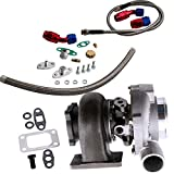 maXpeedingrods GT30 GT3037 GT3076 Turbo Turbocharger 0.82 A/R 500HP + Oil Drain Return Feed Line Kit for all 6/8 cyl 3.0L-5.0L engine