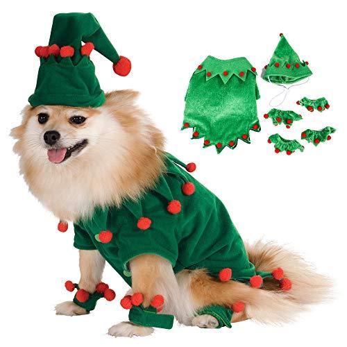 ZLYCZW Disfraz de Perro de Navidad Disfraz Verde, Lindo Disfraz Divertido para Mascota Árbol de Navidad, Ropa de Perro de Payaso de Bola de Felpa, Perro pequeño y Mediano Gato Cachorro Cosplay