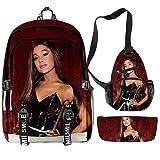 AFHB Mochilas Estampadas Ariana Grande para Hombres y Mujeres Estuche para lápices de Estudio con Carga USB de Tres Piezas Bolso de Hombro con un Bolsillo para papelería (19)