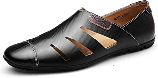 Sumuzhe Stylish and comfortable Loafers For Men Summer Breathable Slip On Shoes PU Leather Walking Hollow Out Driving Casual Shoes Round Toe Summer must (Color : Black, Size : 47 EU)