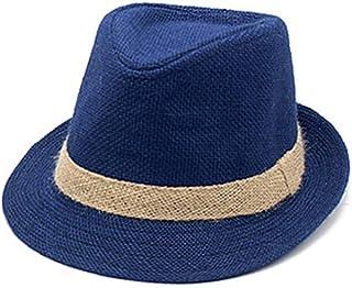 b06de99a28c550 Panama Hat Men Summer Beach Linen Sun Hat Visor Gangster Trilby Fedora Cap  Gentleman Dad Travel