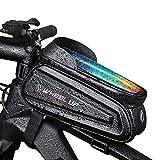AICTIMO Borsa Telaio da Bicicletta, Borsa da Manubrio per Bici Impermeabile PortatileTouch Screen Porta Cellulare Bici Borse Ciclismo Top Pannier per Telefoni 7 Pollici