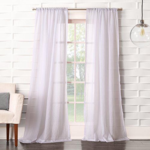 "No. 918 44083 Tayla Crushed Texture Semi-Sheer Rod Pocket Curtain Panel, 50"" x 95"", White"