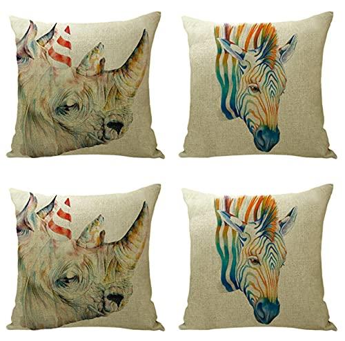KaiXINSun Fodere per Cuscini Confezione da 4 18X18 Pollici Federa Decorativa Quadrata Copridivano Cerniera Invisibile 45X45 Cm Dipinto Zebra Rhino