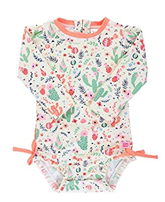RuffleButts Baby/Toddler Girls Desert Blossoms One Piece Rash Guard - 6-12m