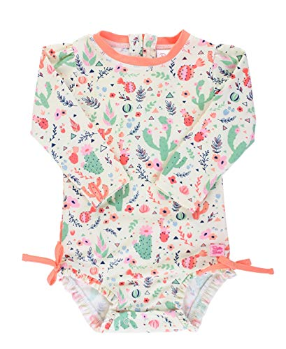 RuffleButts Baby/Toddler Girls Desert Blossoms One Piece Rash Guard - 6-12m