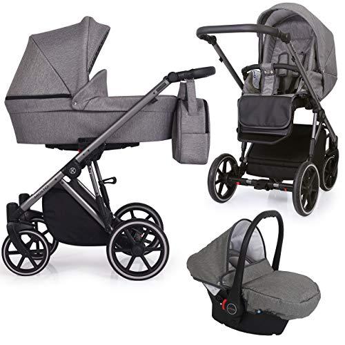 KUNERT Kinderwagen MOLTO Sportwagen Babywagen Autositz Babyschale Komplettset Kinder Wagen Set 3 in 1 (Graphit Jeans, Rahmenfarbe: Graphit, 3in1)