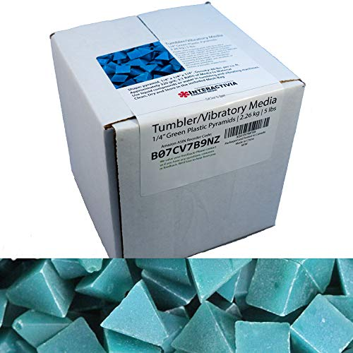 1/4 inch Green Plastic Resin Pyramid (Approx 320 grit) Tumbling Or Vibratory Media 4.7 lbs/2.1 kg | Includes a (Clean, Dry and Store) Bag | for use in Vibrating Tumbler Or Rotating Tumbler