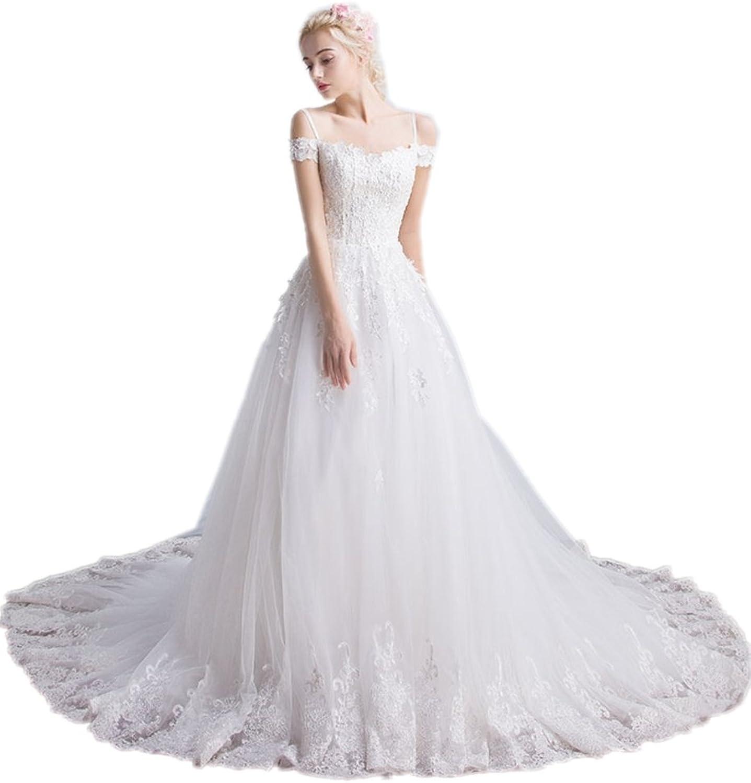 APXPF Women's A line Lace Tulle Spaghetti Straps Wedding Dress for Bride Chapel Train