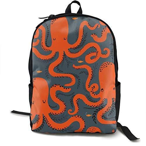 Leichte Polyester Daypack Octopus Cartoon Reise Wanderrucksack - Große Kapazität Anti-Diebstahl-Mehrzweck-Bookbag für Mann/Frau/College Teen Girls