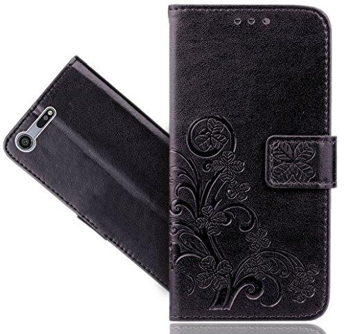 Sony Xperia XZ Premium Handy Tasche, FoneExpert® Blume Wallet Hülle Flip Cover Hüllen Etui Hülle Ledertasche Lederhülle Schutzhülle Für Sony Xperia XZ Premium