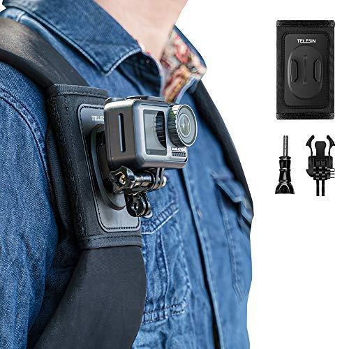 TELESIN Bag Backpack Shoulder Strap Mount with Adjustable Shoulder Pad and J Hook, Strap Holder Attachment System for GoPro Hero 8 Hero 7 Hero 6 5 4 3, Session, Osmo Action, Insta 360 Camera