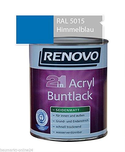 Acryl-Buntlack 2-in-1 125 ml RAL 5015 Himmelblau seidenmatt Renovo