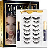 alfea Magnetic Lashes with Eyeliner and Tweezers, 7 Pairs Reusable Magnetic Eyelashes and 2 Tubes of Waterproof Magnetic Eyeliner Kit, [Upgraded] 3D Natural Look, Easy to Wear, No Glue Needed