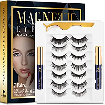alfea Magnetic Lashes with Eyeliner and Tweezers 7 Pairs Reusable Magnetic Eyelashes and 2 Tubes of Waterproof Magnetic Eyeliner Kit [Upgraded] 3D Natural Look Easy to Wear No Glue Needed