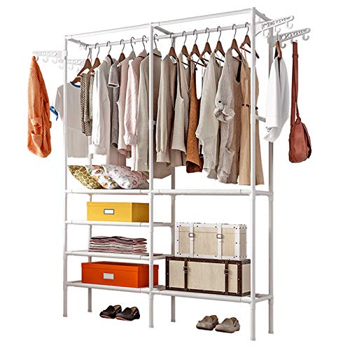 Untyo Clothes Rack 5 Tiers Clothing Rack with 12 Side Hooks Portable Wardrobe Closet