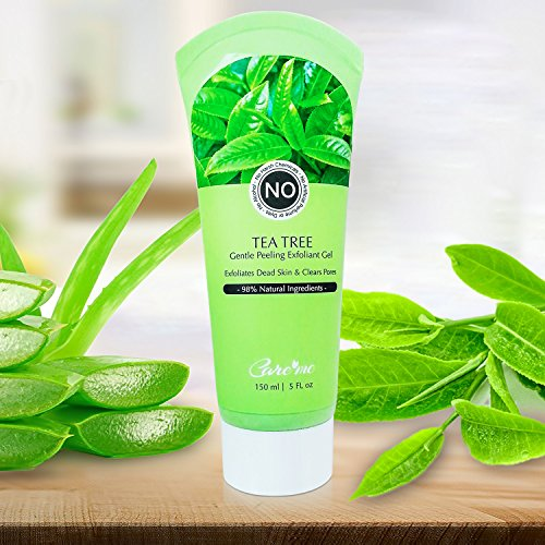 Exfoliating Peel Gel with Tea Tree & Glycolic Acid - Non-scrub Natural Facial Exfoliant Removes Dead Skin Cells on Face & Body Revealing Clear Radiant Skin (for All Skin Types) 150 ml/5 fl oz