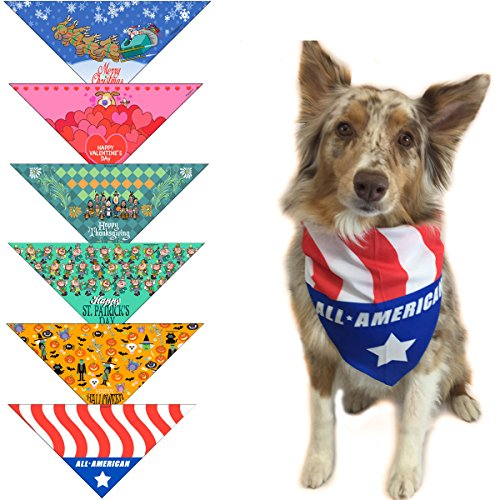 Stonehouse Collection 6 pc Holiday Dog Bandana Med to Large Dogs