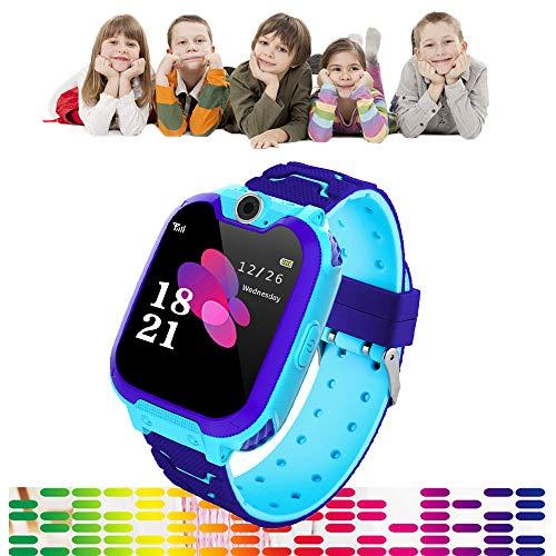 Full Screen Kinderen Smart Phone Horloge Gaming, Touch Kleur Scherm Jongens Meisjes Smartwatch 300.000 Pixels HD Camera 84 graden groothoek Lens, Muziek spelen, Gaming, Opnemen, Geen behoefte App, Blauw