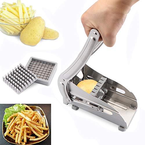 Cortador de freír francés de acero inoxidable Laiashley, cortador de verduras casero de patatas para cortar fácilmente con 2 cuchillas, ideal para patatas, zanahorias, pepinos