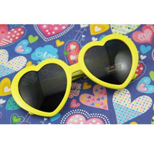 Nouveau cœur d'amour style cadre plastique lentilles rétros lunettes de soleil(Jaune)