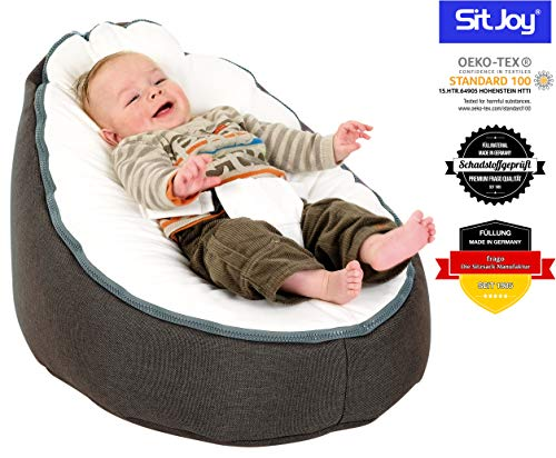 Sitjoy Baby-Sitzsack doomoo | Toxproof-Perlen Füllung | Home Anthrazit | Liegekissen – Lagerungskissen