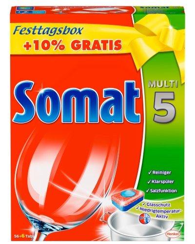 'Somat 5Tabs, pastillas lavavajillas, XL'fijo día Caja Más cantidad + 10%, (62unidades)