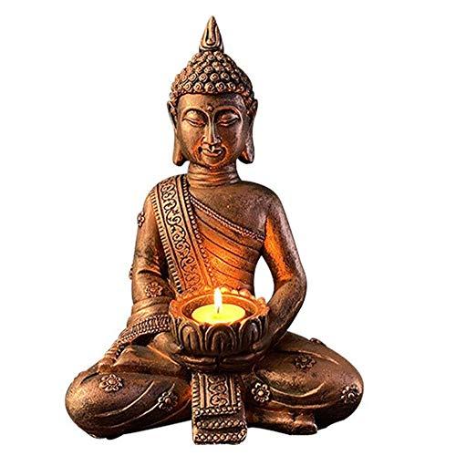 Cakunmik Erwachsene Kerze Kit, Buddha mit Teelichthalter, Räucherstäbchenhalter Kerzenhalter Kerzenhalter Hauptdekorationen Dekorative Tee Licht Halter Statue,A