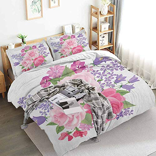 Aishare Store Pink and White Duvet Cover Set,Bridal Bouquet with Booming Flowers Rose Lavender Violet Corsage,Decorative 3 Piece Bedding Set with 2 Pillow Shams,Full(80'x90') Pink Lavander Green