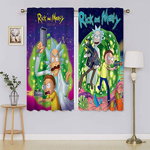 Rick and Morty Thermal&Extra Wide curtains, Energy Saving Blackout Draperies Keep Warm Draperies, Sliding Door Drapes for Living Room W72' x L63'