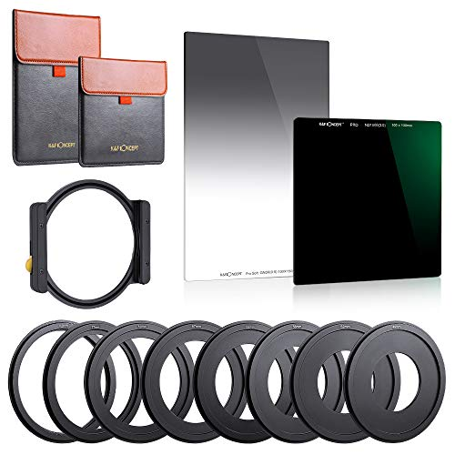 K&F Concept 100x100mm Square Filter ND1000 (10 Stop)&100X150mm Reverse Neutral Density Filter 0.9 Graduated Filter Multi Coated with One Filter Holder and 8 Filter Ring