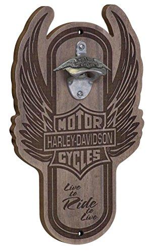 Harley-Davidson Winged Bar & Shield Magnetic Wooden Bottle Opener HDL-18570