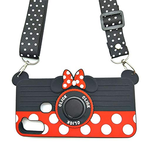 for Samsung A21 Case Cute Galaxy A21 Case Minnie Mouse 3D Camera Rotating Ring Grip Holder Kickstand Lanyard Teens Girls Women Silicone Rubber Cover Stand Phone Case Samsung Galaxy A21-6.5' (A21)