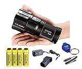 Nitecore Tiny Monster TM26 4000 Lumen Search Light Ultimate Bundle: 4x Nitecore 3400 mAH Batteries a LumenTac Keychain Light