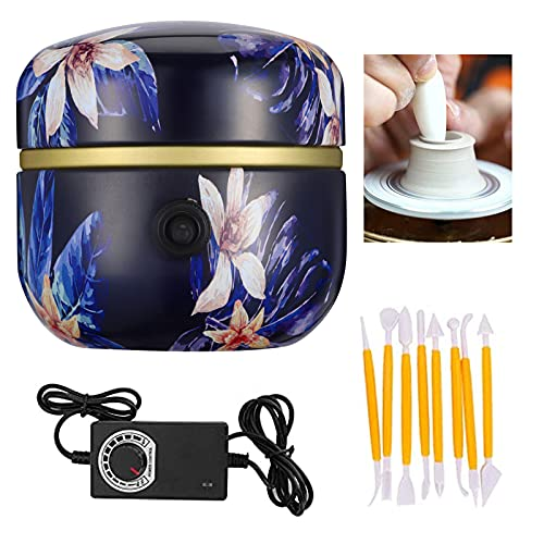 Kacsoo Mini Keramik Rad Maschine, Fingerspitzen-Zeichenmaschine, 1500 U/min, elektrischer Drehteller zum Selbermachen, Tonwerkzeug mit Tablett für Erwachsene & Kinder, Keramikkunst (C)