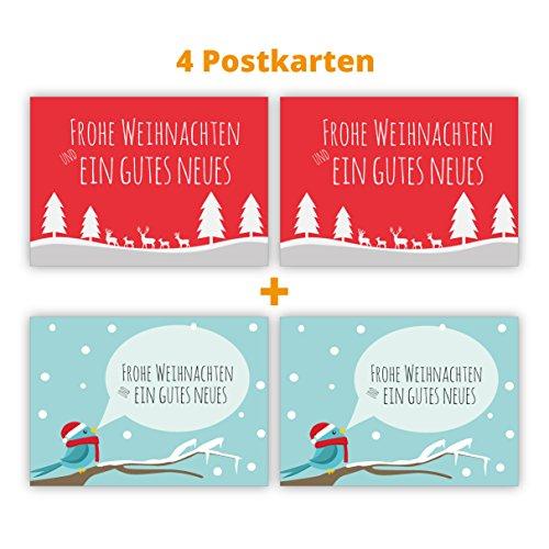 Set van 4 klassieke kerstkaarten met vogels en herten: Vrolijk kerstmis en een goed nieuw.