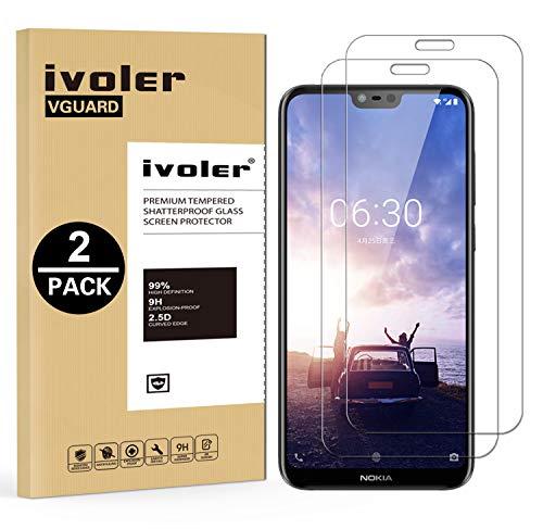 ivoler [2 Stücke] Panzerglas Schutzfolie für Nokia 6.1 Plus [9H Festigkeit] [Anti- Kratzer] [Bläschenfrei] [2.5D R&e Kante]