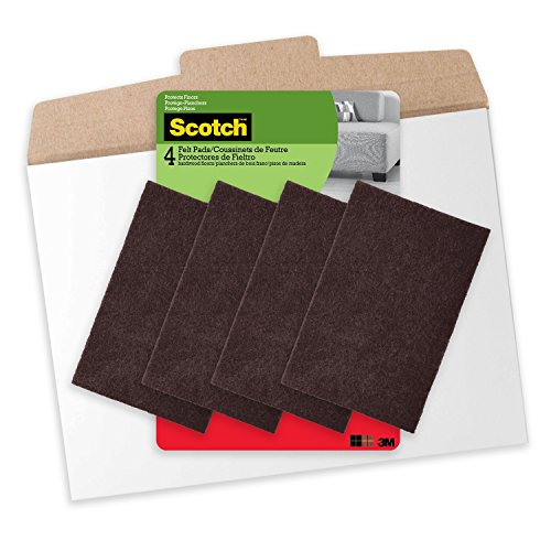 Scotch Felt Pads, Felt Furniture Pads for Protecting Hardwood Floors, Brown, 4 in. x 6 in., 4 Pads