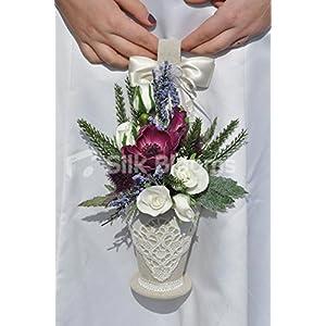 Romantic Plum Anemone Flowergirl Basket w/ Thistles, Roses and Heather