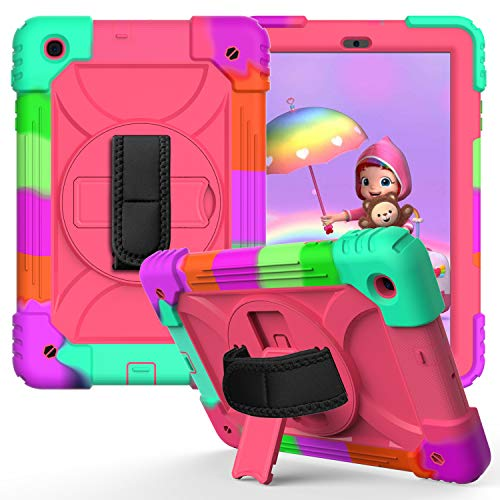 JZ Bicolor Rotating Bracket Case Compatible with Samsung Galaxy Tab A 10.1 2019 (SM-T510/T515) Stand Case with Wrist Strap and Shoulder Strap - Colour + Hot Pink