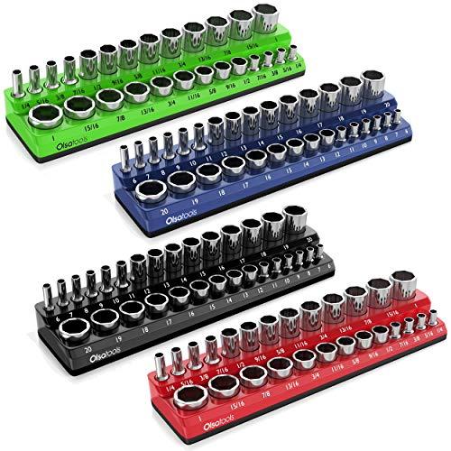 Olsa Tools 4pc Magnetic Socket Holder, 3/8-Inch Drive Bundle of 2 SAE (inch) and 2 Metric (mm) Socket Organizers   Magnetic Socket Organizers Made for Professional Mechanics
