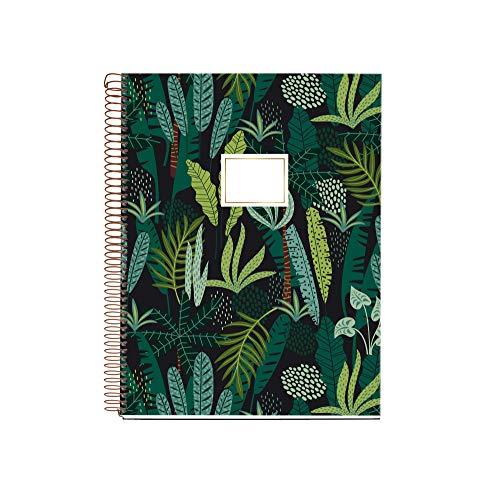 MIQUELRIUS 47985 - Cuaderno Espiral A4, tapa dura, 120 Hojas Cuadrícula Interior 4 Colores Selva